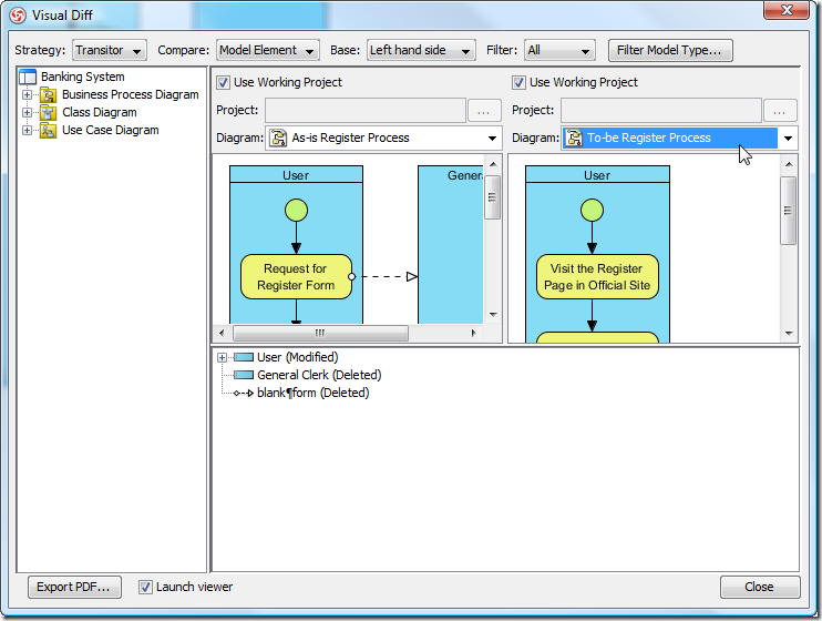 select the to be diagram to compare - Visual Paradigm Viewer