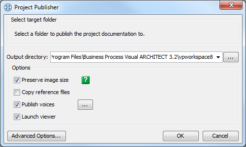 Enter output path in Project Publisher dialog box