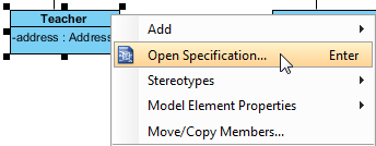 Right click on class to select Open Specification...