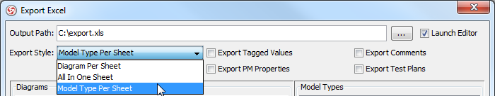 Select Model Type Per Sheet from the drop-down menu of Export Style