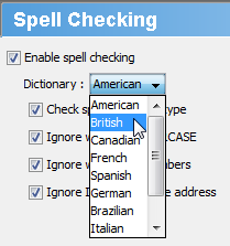 Select British from the drop-down menu
