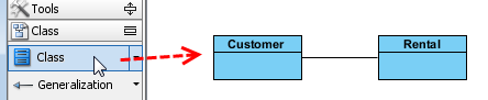 Create two classes on new class diagram