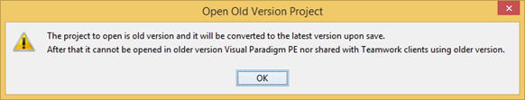Prompt for conversion when open old verison project file