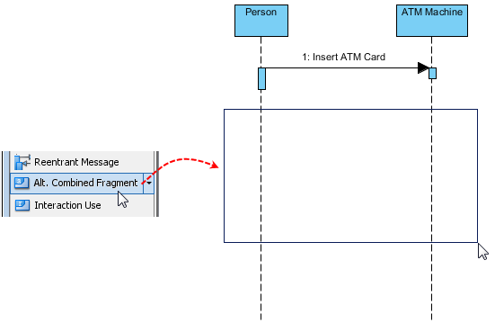 using alternative combined fragments in sequence diagram