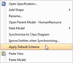 Select Apply Default Schema from the pop-up menu