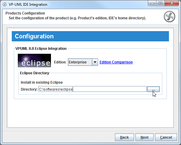Select Eclipse directory
