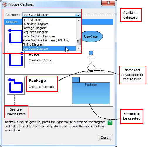 A brief introduction of Mouse Gestures dialog box