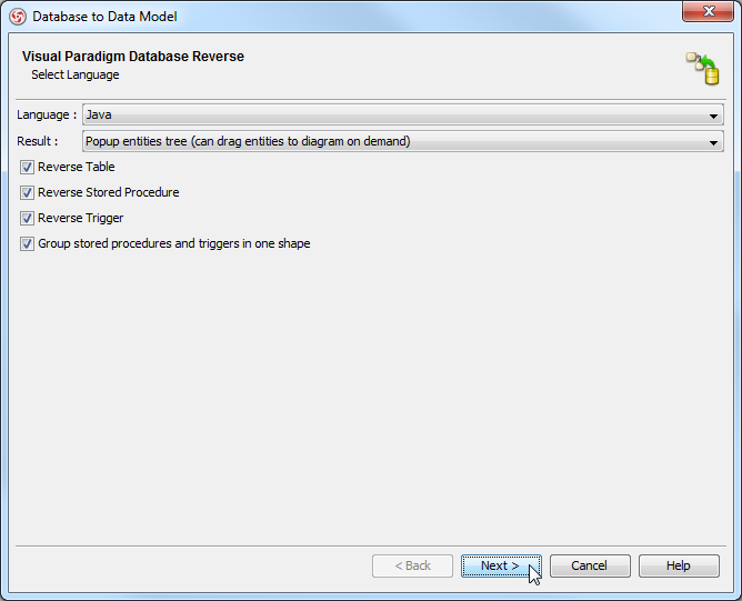 The Database to Data Model dialog box