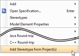 Adding stereotype from dependent projects