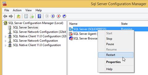 Restart SQL Server