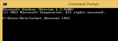 Telnet to SQL Server