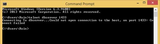 Telnet fail to connect to SQL Server