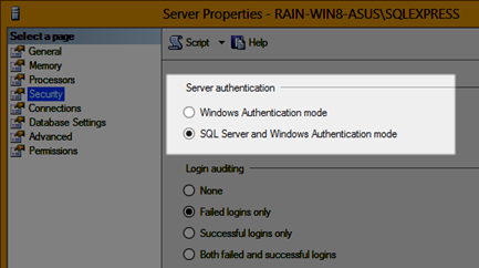 Select SQL Server and Windows Authentication mode