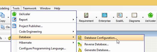 Open Database Configuration Dialog in Visual Paradigm