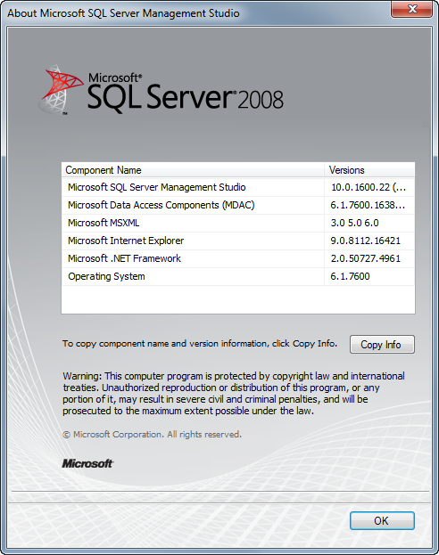 Version of SQL Server: 2008