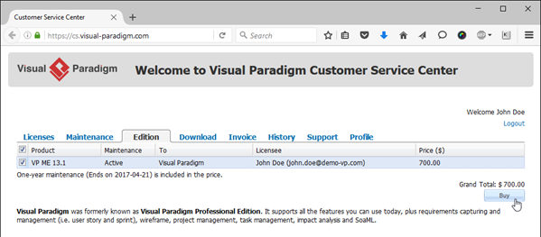 purchase upgrade from edition tab - Visual Paradigm Professional
