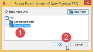 Select Physical Model for generate physical ERD