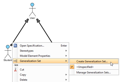 Right-click to Select Generalization Set