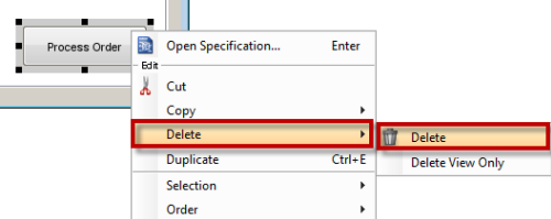 Right click to delete button on screen
