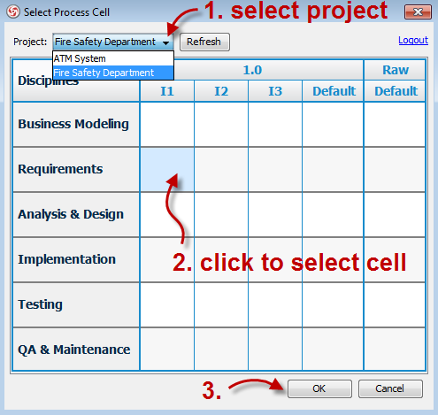 05 - select process cell in VP-UML