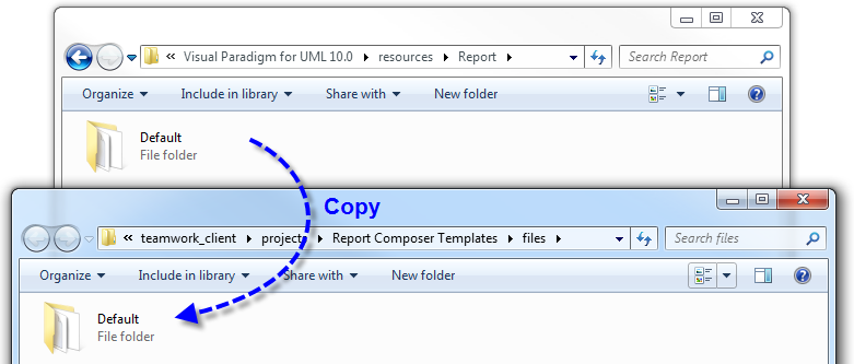 Copy the template folder into the teamwork project