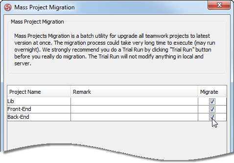 Select projects to migrate