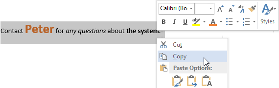 Copy formatted text from a Microsoft Word document