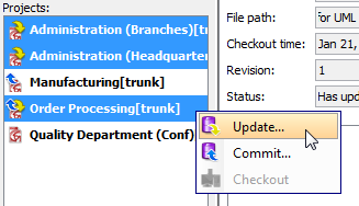 To update multiple projects