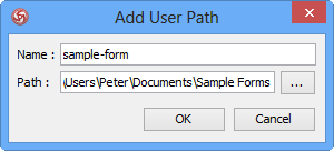 Specify the name and path of user path