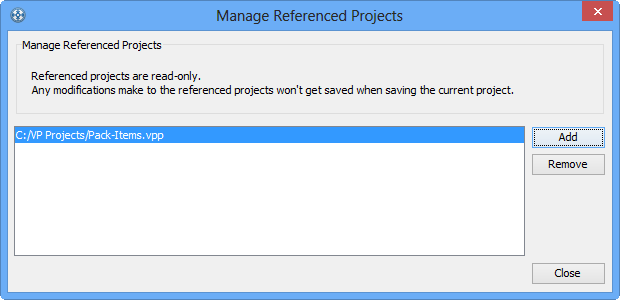 The Manage Referenced Project window