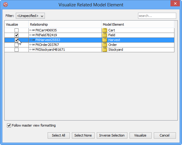 Visualize relationship among database tables