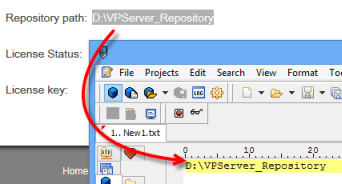 Copy the repository path if your repository is configured outside VP Server installation directory/