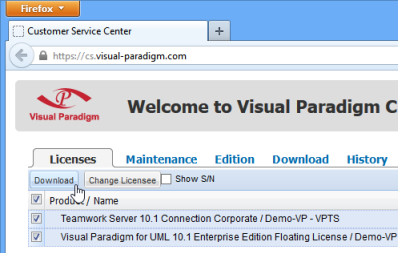 Download new VP-UML floating license key and the new Teamwork Server license key.