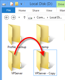 Backup the server by copying the VP Server installation directory.