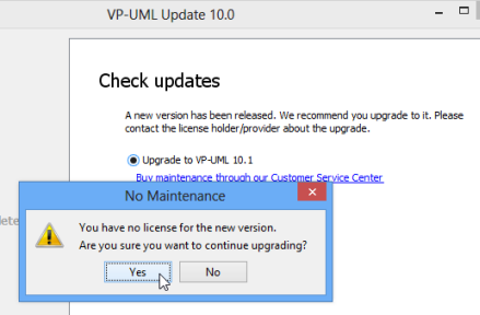 It is normal that it prompt you don't have the license since VP-UML Update only perform checking on single seat license
