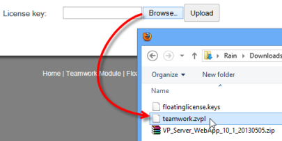 Select the new version teamwork server license key downloaded previously.