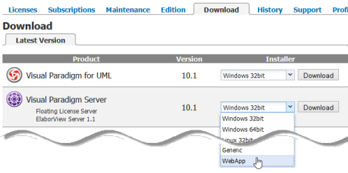 Download WebApp package of the new license server.