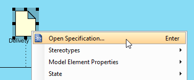 Open specification dialog of Data Object