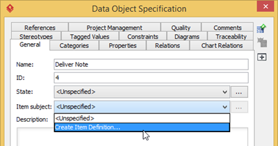 Create item subject for Data Object