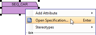 Open specification dialog of the sequence