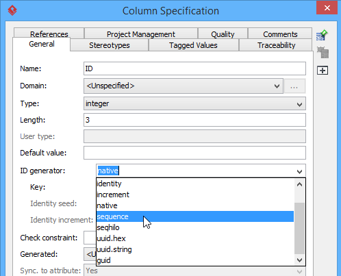 Select sequence as ID Generator