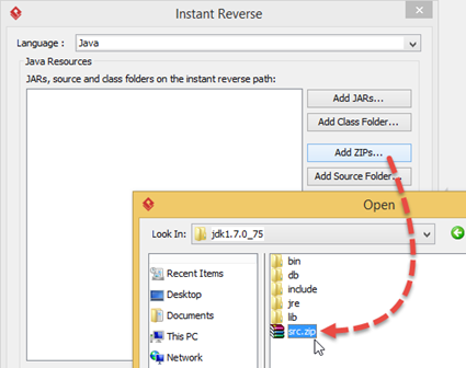 Add src.zip from JDK for Instant Reverse
