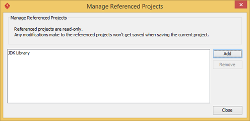 Close Manage Reference Project dialog