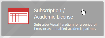 Clicking on Subscription / Academic License