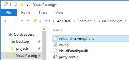 Create or edit vplauncher.vmoptions file