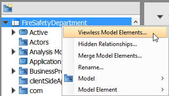 To list the viewless model elements in project