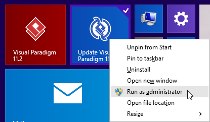 Run Visual Paradigm Update as administrator