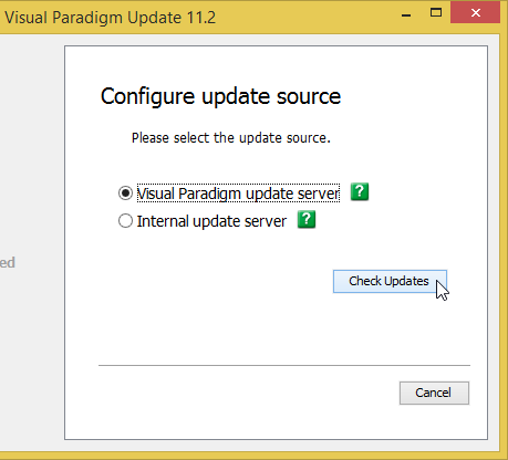 Select Visual Paradigm update server as update source