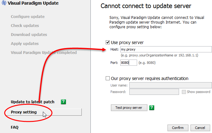Configure proxy server for Visual Paradigm Update.