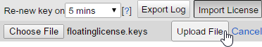 Upload the license key to server
